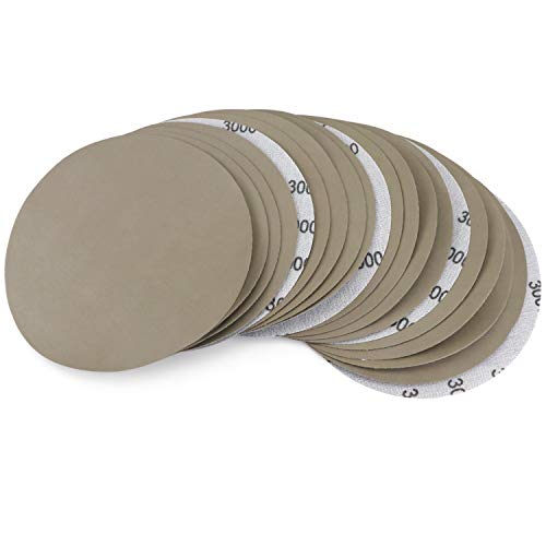 20Pcs 7 Inch 3000 Grit Wet Dry Sanding Discs Heavy Duty Silicon Carbide Waterproof Sanding Paper Power Polisher Sander Hook and Loop Sandpaper for Wood Metal Glass Car Boat Grinding Polishing