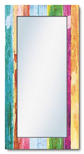Artland Ganzkörperspiegel Holzrahmen zum Aufhängen Wandspiegel 60x120 cm Design Spiegel Shabby Chic Holzoptik Kunst Bunt T9IL