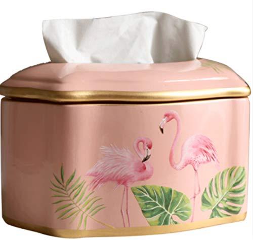 PORCN American Flamingo Caja de pañuelos de cerámica decoración Sala de Estar en casa Mesa de Comedor Nueva Caja de Papel servilletero Chino Bandeja