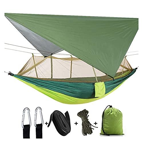 JUNMAIDZ Tienda Tienda aérea Camping al Aire Libre 2 Persona Hamaca con mosquitera y Refugio de Sol portátil para paracaídas hamacas de Swing (Color : Colorful Green)