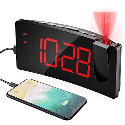 Mpow Wecker Digital, Projektionswecker mit USB-Anschluss, Große 5' LED Bildschirm, 4 einstellbare Helligkeiten, Ultraklare Rote Ziffern, Einfach zu bedienen, Snooze, Randlos Kurve (Inkl.Adapter)