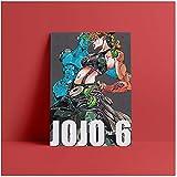 Bxygml Jojo Part 6 Stone Ocean Anime Pared Arte Lienzo decoración póster Impresiones para Sala de Estar decoración del hogar pintura-50x70cm sin Marco
