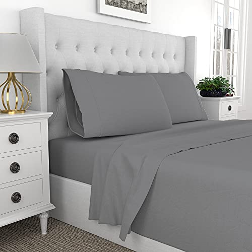 """Premium 400-Thread-Count Best 100% Cotton 4 Piece Ultimate Percale Bed Sheet Set, Super Soft Finish, Cool Crisp,Patented Fitted Sheet Fits Mattress Upto 18"""" Deep Pocket,Full Sheets,Dk Grey-Purity Home"""