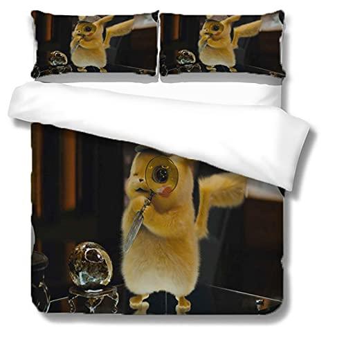 Itscominghome - Juego de cama de matrimonio con funda nórdica de Pikachu estampada en 3D,2 fundas de almohada, 100% microfibra (Pikachu 2,155 x 220 cm)