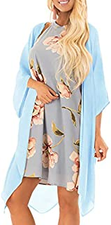 PINKMILLY Women's 3/4 Sleeve Kimono Chiffon Loose Cardigan