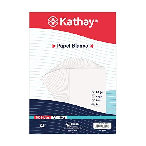 Kathay 86600070. Paquete de 100 Hojas de Papel Blanco, A4, 80g, Apto para Impresoras, Ink-jet, Copy, Laser y Fax