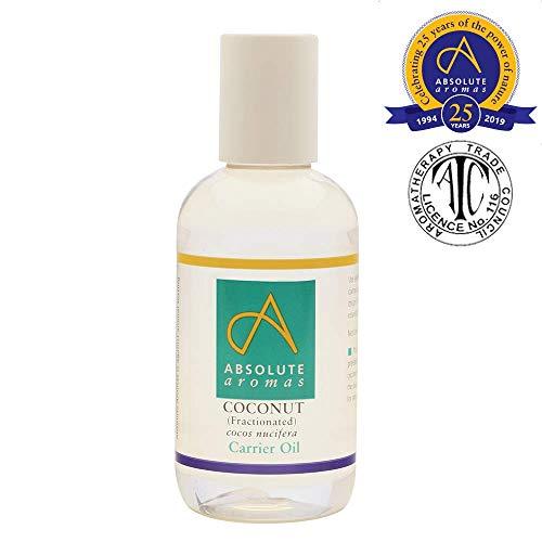 Absolute Aromas Aceite líquido de coco Fraccionado 150ml - 100% Puro, Natural, Sin Esencia, sin Crueldad Animal, Vegano, Sin OGM - Aceites para el Cabello, Piel, Masaje o Aromaterapia