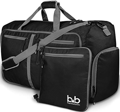Extra Large Duffle Bag with Pockets - Waterproof Duffel Bag for Women and Men (Black)