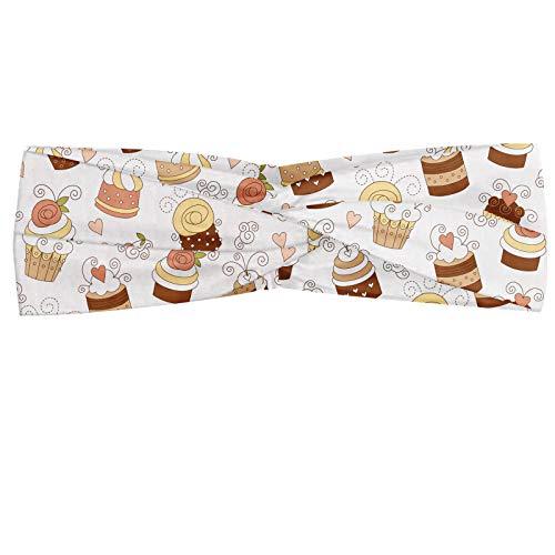 ABAKUHAUS Creme und Weiß Halstuch Bandana Kopftuch, Cupcakes Verschiedene Toppings Schlagsahne Rollfondant Fondant, Elastisch und Angenehme alltags accessories, Weiße Creme