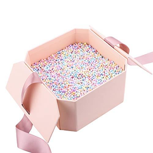 Präsentation Geschenkbox,edle Geschenk-Boxen mit Schleife Geschenkboxen mit Deckel Wiederverwendbare dekorative Box mit Füllung (Meteor Ball) Papierschmuck Geschenkboxen für Schmuck Display-Ringe