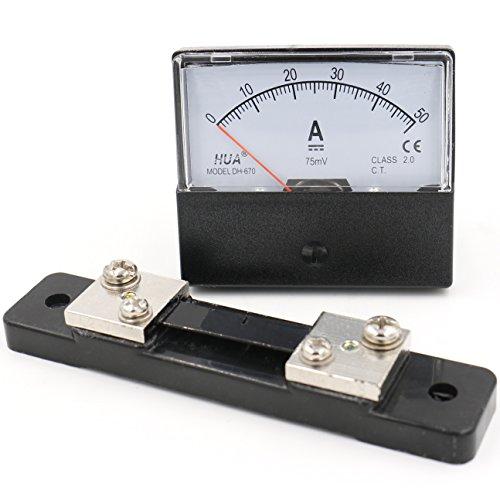 Heschen Rechteck-Panel montiert Stromzähler Amperemeter Tester DH-670 DC 0-50A Klasse 2,0 mit Shunt