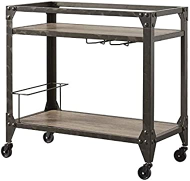 Finola- Rolling Island for Kitchen-Kitchen Island On Wheels- Movable Kitchen Island- Charcoal Grey Industrial Metal Mobile Ba