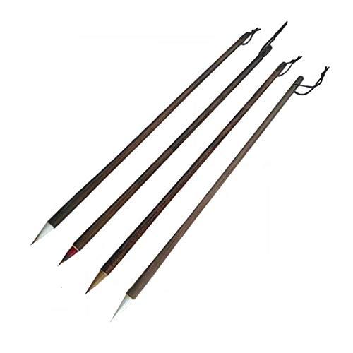 Cepillo Tradicional Cuatro Juegos de Principiantes Barra de Madera Pintada Boutique no Abre el Cepillo de Escritura del Cuaderno de caligrafía del Ventilador