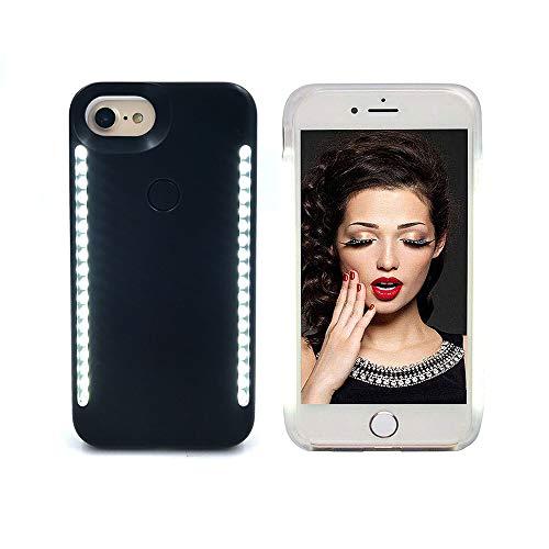 Selfie-Licht-Hülle für iPhone 6/6S/7/8, LNtech wiederaufladbares LED-Licht für Selfie-Gehäuse, Rückseite und Vorderseite, beleuchtete Abdeckung [dimmbarer Schalter], iPhone 6/6s/7/8, schwarz