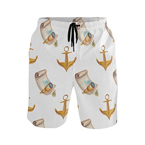 BONIPE Herren Badehose Wasserfarben Nautische Anker Schatzkarte Muster Quick Dry Boardshorts mit Kordelzug und Taschen Gr. XL, mehrfarbig