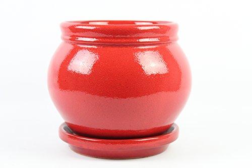 Artesania Roca Pot de fleurs en argile émaillée avec soucoupe. 2 pièces. Très décoratif. Coco diamètre 19 cm x 21 cm hauteur Assiette 20 cm de diamètre x 3,5 cm de hauteur. Fabriqué en Espagne. Rouge