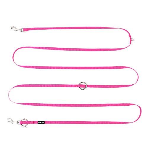 KURI PAI® Hundeleine Für Sehr Kleine Hunde, Pink, Mehrfach Verstellbar, 3m Leine (1.5m - 2.8m) Doppelleine (1.0cm breit), Für Zwei Hunde, Umweltfreundlich Aus Bambus