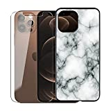 KJYF para iPhone 13 Funda + Cristal Templado, Case Caso Negro Suave Silicona Cover TPU Carcasa Vidrio Templado Protector para iPhone 13 (6.1') - Canica