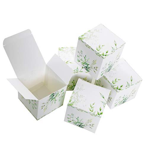 Logbuch-Verlag kleine geschenkdoos groen wit gastgeschenk bruiloft verpakking give away kartonnen doos met deksel doos vouwdoos om te vullen 7 x 7 cm 10 Stück groen
