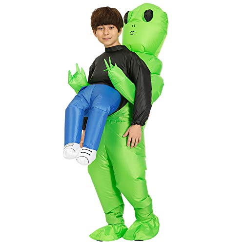 JKHK Green Alien Carrying Human Inflatable Costume Cosplay Costume Fun Blow Up Suit Party Costume Fancy Dress Halloween Costume for Adult Kids