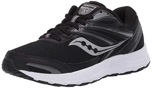 Saucony Women's Cohesion 13 Running Shoe, Black/White, 9.5 Wide