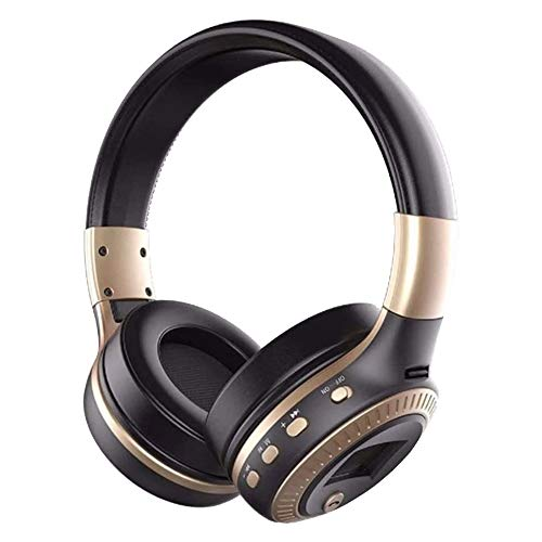 Zealot B19 Wireless Headphones with fm Radio Bluetooth Headset Stereo Earphone with Microphone for Computer Phone,Support TF,Aux (Black Gold)