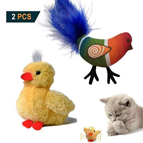 Aidiyapet Katzenspielzeug Vogel,Katzen Plüschspielzeug,Katzenspielzeug Feder,Interaktives Katzenspielzeug,aus flauschigem Plüsch Vibrationsflexibel bewegen