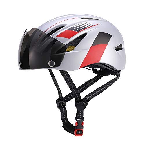 Casco de bicicleta ajustable unisex con luz de seguridad y visera para...