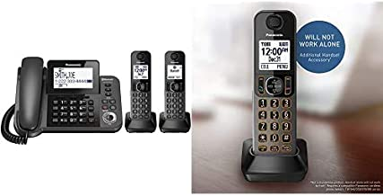 $129 » Panasonic Bluetooth Corded/Cordless Phone System with Answering Machine, Enhanced Noise Reduction and One-Touch Call Block...