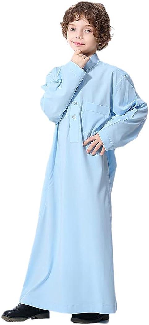 KEHAIEN Dubai Arab Islamic Robe Stand Collar Kaftan, Boy Long Dress Kids Caftan, Muslim Children Abaya Ramadan Jubba Thobe