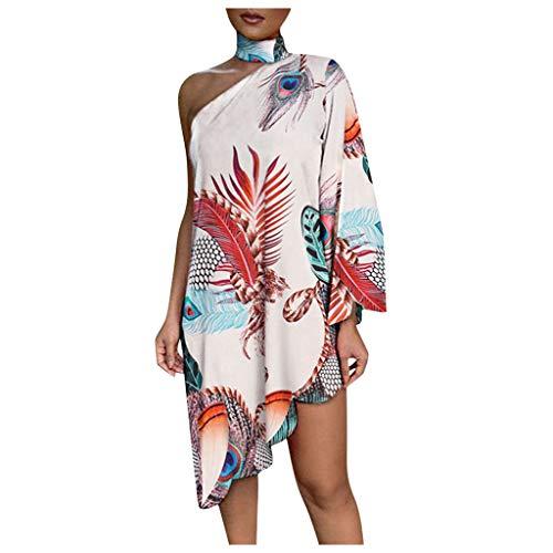 ZHOUDA Damen Abendkleid Mode Print ärmellose lose Kleider aus Schulter Kleid Shirtkleider Lose Freizeitkleider