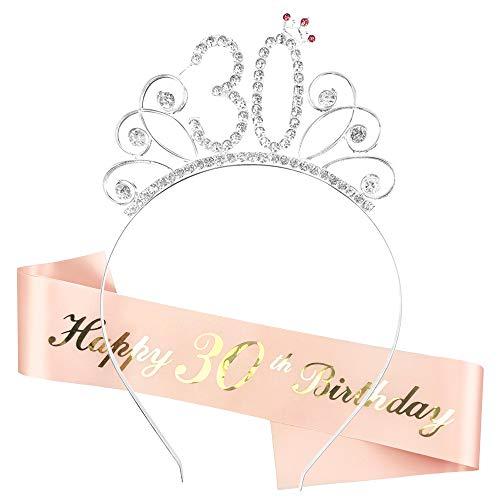 Corona de Cumpleaños 30, Conjunto de Fiesta de Gallina de Cumpleaños de Corona de Cumpleaños, Accesorios de Decoración para Niños, Regalo de Fiesta para Mujeres