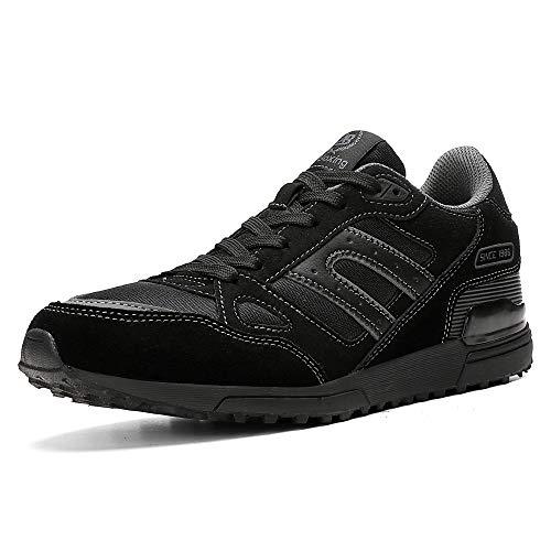AX BOXING Zapatillas Hombres Mujer Deporte Running Sneakers Zapatos para Correr Gimnasio Deportivas Padel Transpirables Casual (44 EU, A98333-Negro)