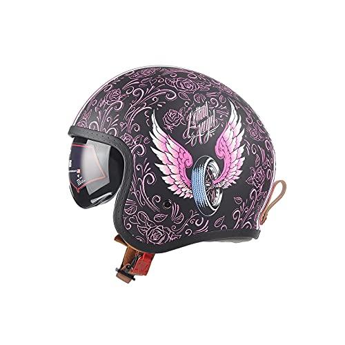 LIONCIANO Motorradhelm Mit Visier DOT/ECE Zertifiziert Jethelm Jet-Helm Roller-Helm Scooter-Helm Moped Mofa-Helm Chopper Retro Vespa Vintage Jethelme(Rosa Engel, L=57-58cm)