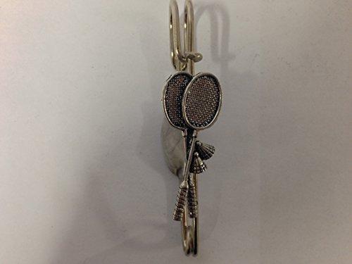 S10 Raquetas de bádminton Pin bufanda o broche emblema peltre 3 pulgadas 3 pulgadas hecho a mano en sheffield