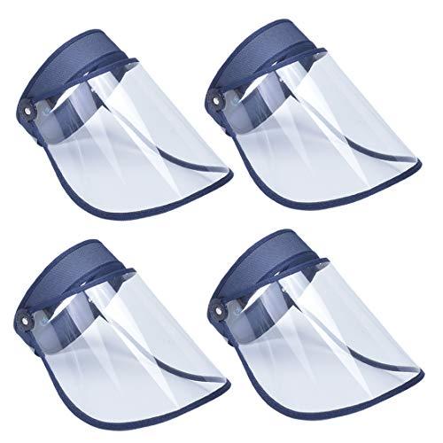 AIEOE Pack de 4 Escudo Facial de Protección al Aire Libre Visera Protectora Antigotas Transparente Careta de Seguridad de Cara Completa