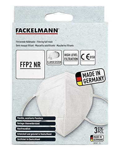 Fackelmann FFP2 Atemschutzmaske, Mundmaske mit Ohrbügel und Nasenclip, FFP2 Maske für Aerosole, Universalmaske als Partikelschutz, hochwertige FFP2 Schutzmaske (Farbe: Weiß), Menge: 1 x 3 Stück