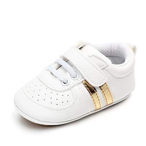 MASOCIO Zapatos Bebe Niño Niña Recién Nacido Primeros Pasos Zapatillas Deportivas Bebé Suela Blanda Antideslizante Blanco Dorado 3-6 Meses