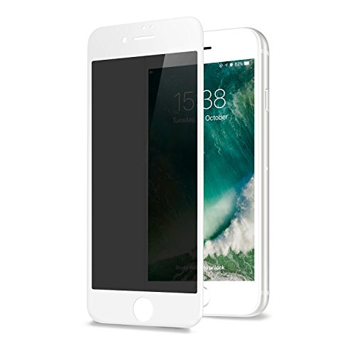 GLASS-M Privacy Screen Protector for iPhone 6s Plus/iPhone 6 Plus, Anti-spy Edge to Edge Full Cover Tempered Glass, Anti-Fingerprint 9H Hardness Case Friendly Premium Protection Shield - White