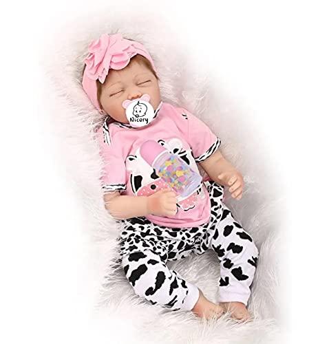 Nicery Reborn Baby Doll Réincarné bébé Poupée Doux Simulation Silicone Vinyle 22 Pouces 55cm Bouche Qui Semble Vivant Garçon Fille Jouet Vif réaliste Âge 3+ Rose Blanc Vache laitière
