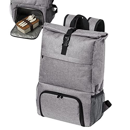 Rucksack mit Kühlfach Grau - Kühltasche Kühlrucksack Picknickrucksack Tasche 30l faltbar Essenstasche - Lunchbag mit Kühlung Kühlfunktion Picknick Lunch-Tasche Isoliertasche Thermotasche mit Fächer