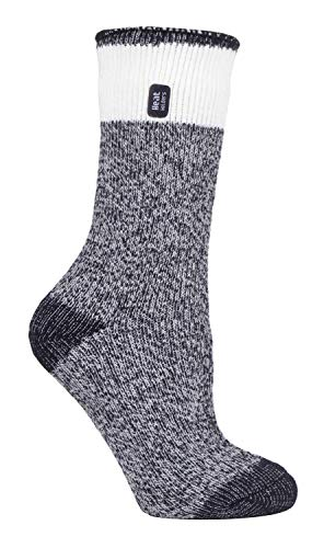 HEAT HOLDERS - Ladies 2.3 tog Thick Fluffy Thermal Socks for Winter (4-8 UK, Snowdrop Black)