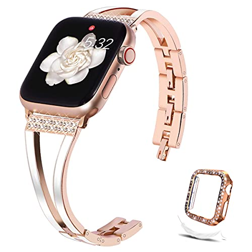 Compatible with Apple Watch Band 38mm 40mm 42mm 44mm + Case, Womens Metal Lightweight Resin Rhinestone Wristband with Glitter Bumpe TPU Protector Case for iWatch Series 6/5/4/3/2/1