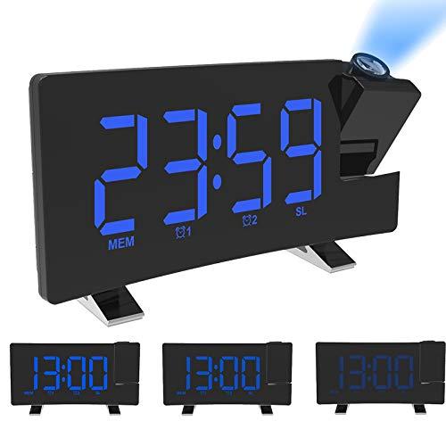 ALLOMN Sveglia a Proiezione, FM Sveglia Digitale Radio FM a Schermo Curvo/Proiezione a Tempo/Proiettore Regolabile/Snooze/Doppio Allarme/Porta Caricatore USB / 12/24 Ore/Dimmer (Blu)