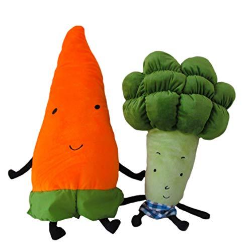 qinhuang 2 Uds., Juguete De Peluche De Verduras De Dibujos Animados, 55 / 70Cm, Almohada Creativa De Zanahoria Y Brócoli, Juguetes Blandos Rellenos para Niños, Regalo De Cumpleaños para Niños
