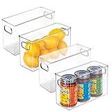 mDesign Juego de 4 cajas de almacenaje medianas – Cajas organizadoras para cocina, refrigerador o congelador – Organizador de cocina de plástico sin BPA con asas y apilable – transparente