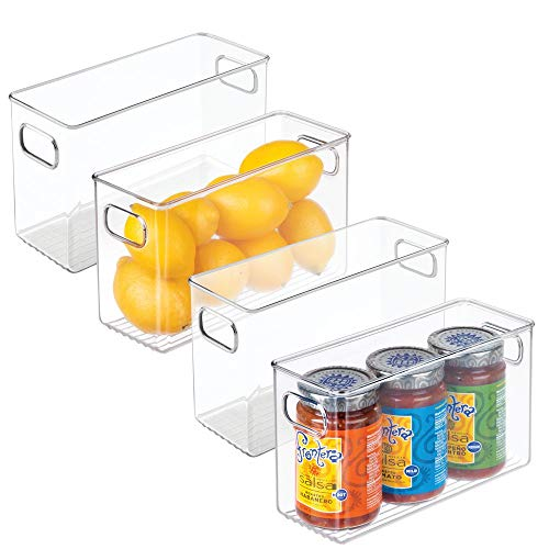 mDesign 4er-Set Aufbewahrungsbox (mittel) – ideal zur Küchen Ablage, im Küchenschrank, Gefrierschrank oder als Kühlschrankbox – BPA-freie Kunststoffbox mit Griffen und stapelbar – durchsichtig
