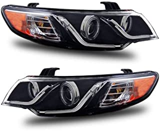 SPPC Projector Headlights Black G2 Assembly Set (CCFL Halo) For Kia Forte - (Pair) Driver Left and Passenger Right Side Replacement Headlamp