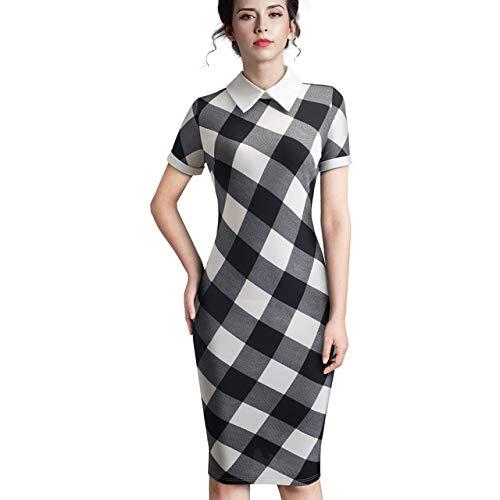 Aututer Mujer Profesional otoño Collar de rechazo Adecuado para el Vestido de Trabajo Retro Elegante Oficina de Negocios lápiz Falda de Longitud Media Ropa de Trabajo Vestido de Longitud Media