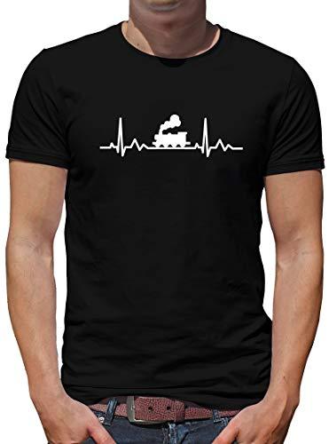 Preisvergleich Produktbild TShirt-People Herzschlag Eisenbahn T-Shirt Herren Herzfrequenz EKG Heart XL Schwarz